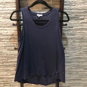 GAP cotton eyelet top in navy